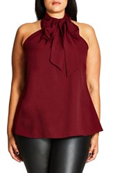 City Chic Plus Size Women's Bow Back Top Ruby