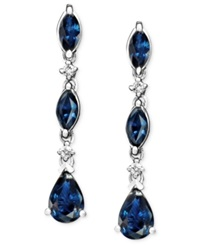 Macy's 14K White Gold Earrings Sapphire 1 3 4 Ct. T.W. And Diamond Accent Blue
