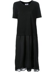 Muveil Lace Trim T Shirt Dress Black