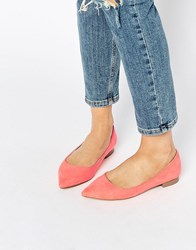 Asos Lost Pointed Ballet Flats Coral Pink