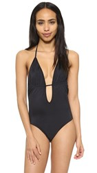 Milly Italian Solid Swim Acapulco Maillot Black