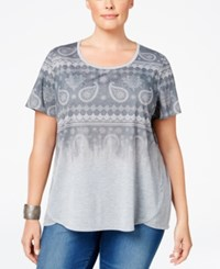 Styleandco. Style Co. Plus Size Ombre Paisley Print T Shirt Only At Macy's Light Grey Heather