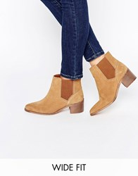 Asos Reality Wide Fit Suede Ankle Boots Chestnut Brown
