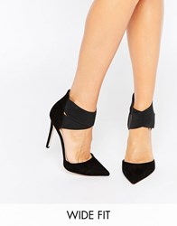 Asos Peaches Wide Fit Elastic Detail Pointed Heels Black