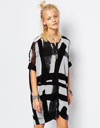 Religion Oversized Shirt Dress With Abstract Print Multi