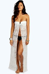 Boohoo Lace Bandeau Beach Maxi Cover Up White