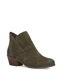 Me Too Suede Almond Toe Ankle Boots Moss Green