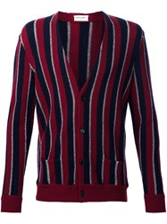 Saint Laurent Striped Cardigan Red