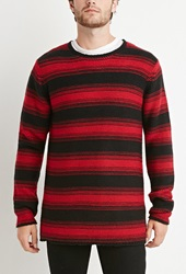 Forever 21 Striped Purl Knit Sweater Red Black