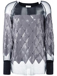 Aviu Sequined Sheer Knit Blouse Grey