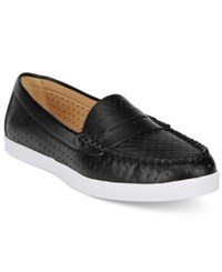 Wanted Carmel Perforated Penny Loafers Women's Shoes Black