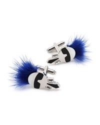 Fendi Karlito Fur Cuff Links Blue