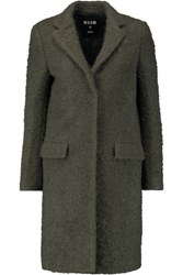 Msgm Wool Blend Boucle Coat Army Green