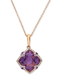 Effy Collection Lavender Rose By Effy Amethyst 5 3 4 Ct. T.W. And Diamond 1 5 Ct. T.W. Clover Pendant In 14K Rose Gold