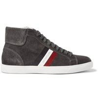 Moncler La Montecarlo Suede High Top Sneakers Brown