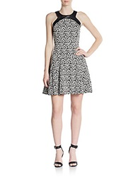 4.Collective Leopard Print Faux Leather Trimmed Dress