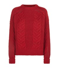 Maje Maxime Cable Knit Jumper Female Red