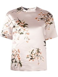 Rochas Floral Print Short Sleeve Blouse Nude Neutrals