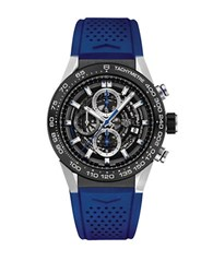Tag Heuer Brushed Ceramic And Rubber Strap Watch Car2a1tft6052 Blue