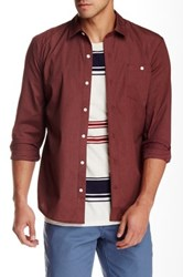 Volcom Everett Solid Long Sleeve Classic Fit Shirt Red
