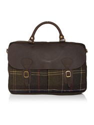 Barbour Waxed Tartan Briefcase Green