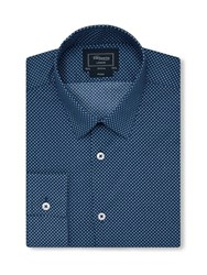 T.M.Lewin Print Fully Fitted Classic Collar Formal Shirt Navy
