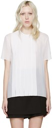 Nina Ricci White Pleated Silk Blouse