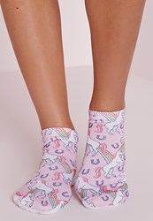 Missguided Rainbow Unicorn Socks Pink