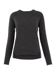 Whistles Ribbed Sleeve Cashmere Sweater Dark Grey