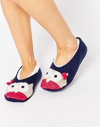 Totes Novelty Footsie Slippers Navy