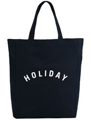 Holiday Print Tote Blue
