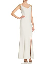 Js Collections Embroidered Back Gown Light Beige