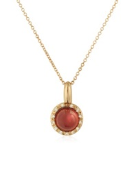 Mia And Beverly Garnet And Diamond 18K Rose Gold Charm Necklace Red