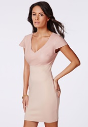 Missguided Pink Faux Leather Contrast Bodycon Dress Pink