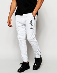Religion Joggers With Large Skeleton Emroidery White