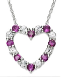 Macy's 10K White Gold Necklace Ruby 3 8 Ct. T.W. And White Sapphire 1 3 Ct. T.W. Heart Pendant