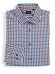 Sand Contrast Check Pattern Shirt Brown Blue