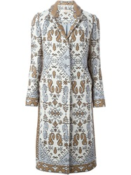 Tory Burch Jacquard Coat Multicolour