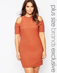Alice And You Cold Shoulder Bodycon Dress Rust Red