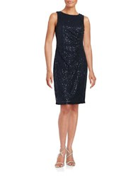 Calvin Klein Sequined Lace Sheath Dress Navy