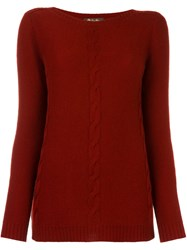 Loro Piana Cable Knit Jumper Red