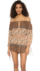 Free People So Divine Off Shoulder Romper Apricot Combo