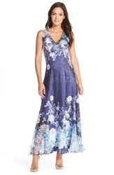 Komarov Floral Print Charmeuse And Lace Gown Celestial