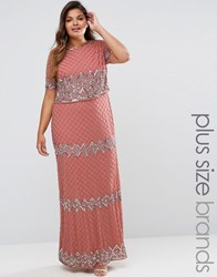 Lovedrobe Luxe Double Layer Embellished Maxi Dress Pink