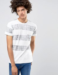Solid Crew Neck T Shirt With Washed Block Stripe White Blue 0104