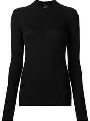 Courreges High Neck Ribbed Blouse Black