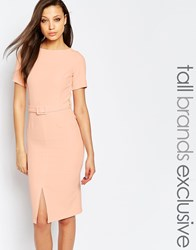 Alter Tall Belted Pencil Dress With Split Front Detail Blush