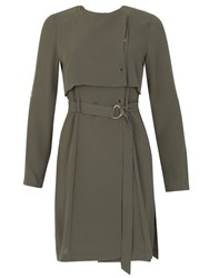 Izabel London Cape Style O Ring Belted Dress Green