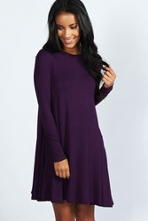 Boohoo Scoop Neck Long Sleeve Swing Dress Grape