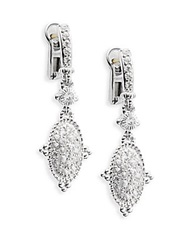 Judith Ripka Arielle White Sapphire And Sterling Silver Oval Drop Earrings